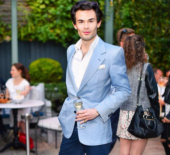 Mark-Francis Vandelli at an evening event near Pieces of Time, London antique watch dealers.