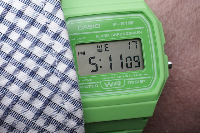 A bright green version of the vintage wrist watch design from Casio the F-91W- Pieces of Time.