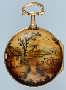 An Under painted Horn Pair Case