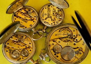our pocket watches on a table at Pieces of Time