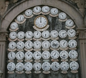 A collection of the worlds clocks on a wall in Buenos Aires