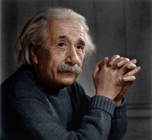 Albert Einstein in colour around the time he owned an antique pocket watch