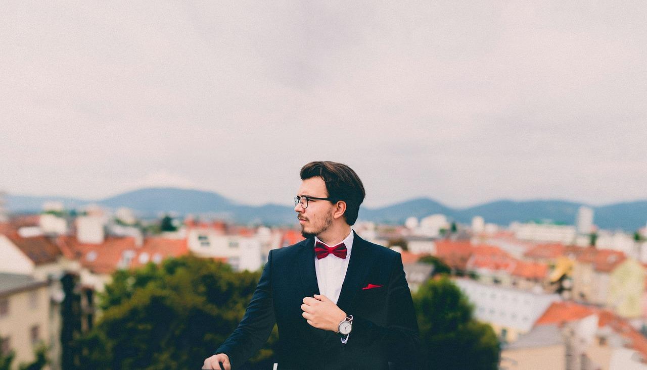 Man wearing antique wrist watch for fashion