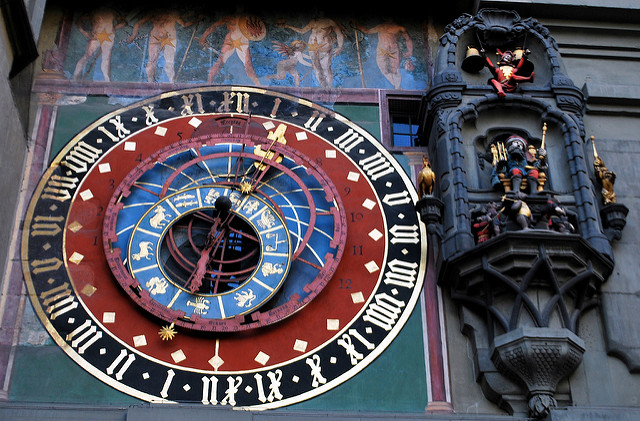 Zytglogge Tower in Bern, Switzerland is one of the most beautiful clocks in the world.