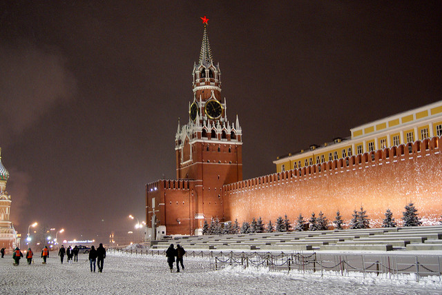 Spasskaya Tower in Moscow, Russia is one of the most beautiful clocks in the world.